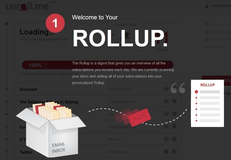 """""""Rollup"""" nennt Unroll.me die tägliche Newsletter-Zusammenfassung"""