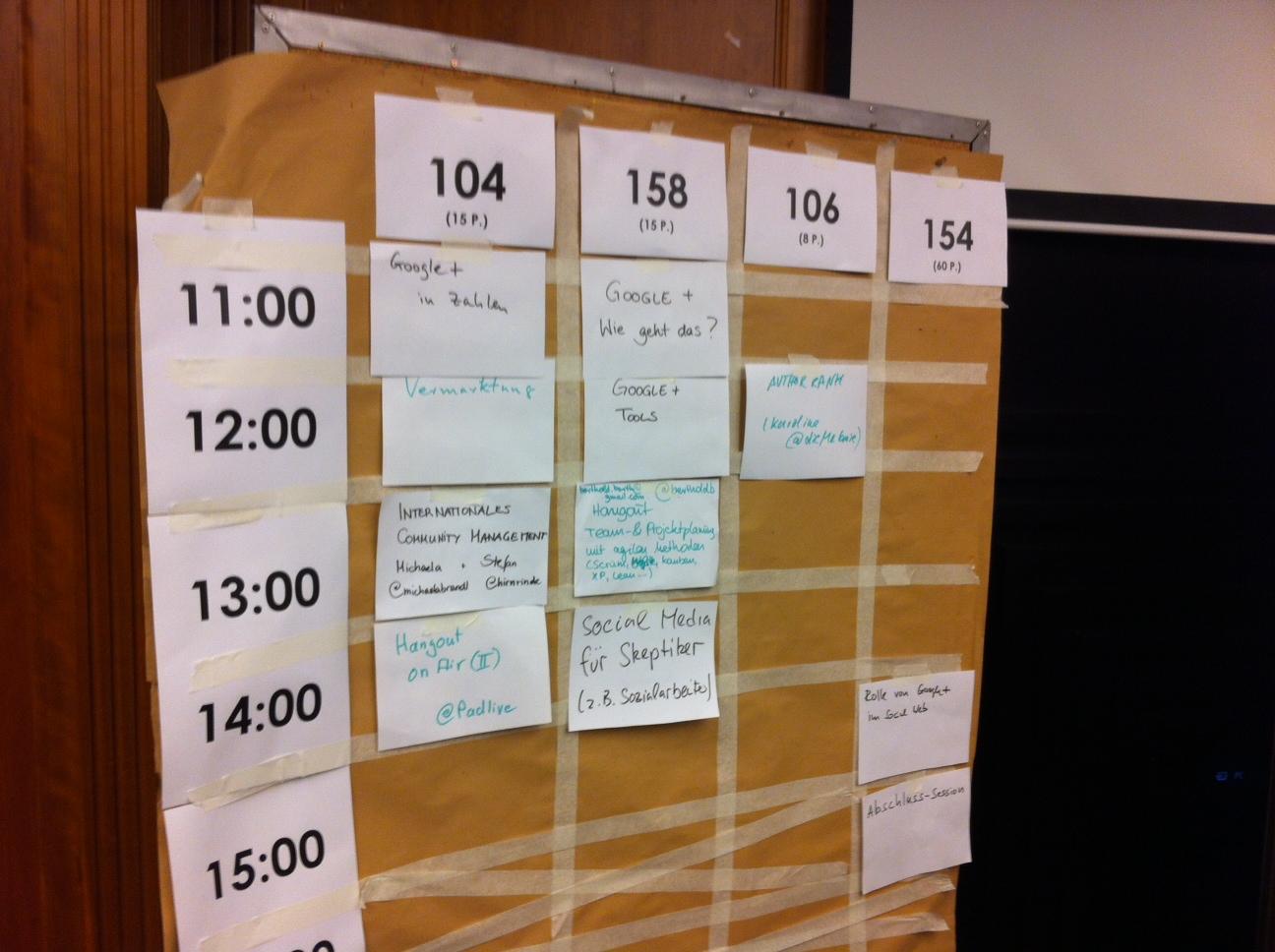 Sessionplanung beim Gpluscamp in Essen