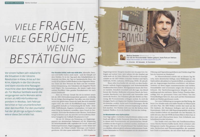 "Markus Sambale im ""Journalist"""