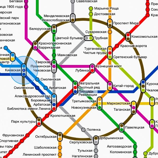 """Das Metro-Netz der Moskauer Innenstadt, Screenshot aus der """"Metropolitan""""-App"""