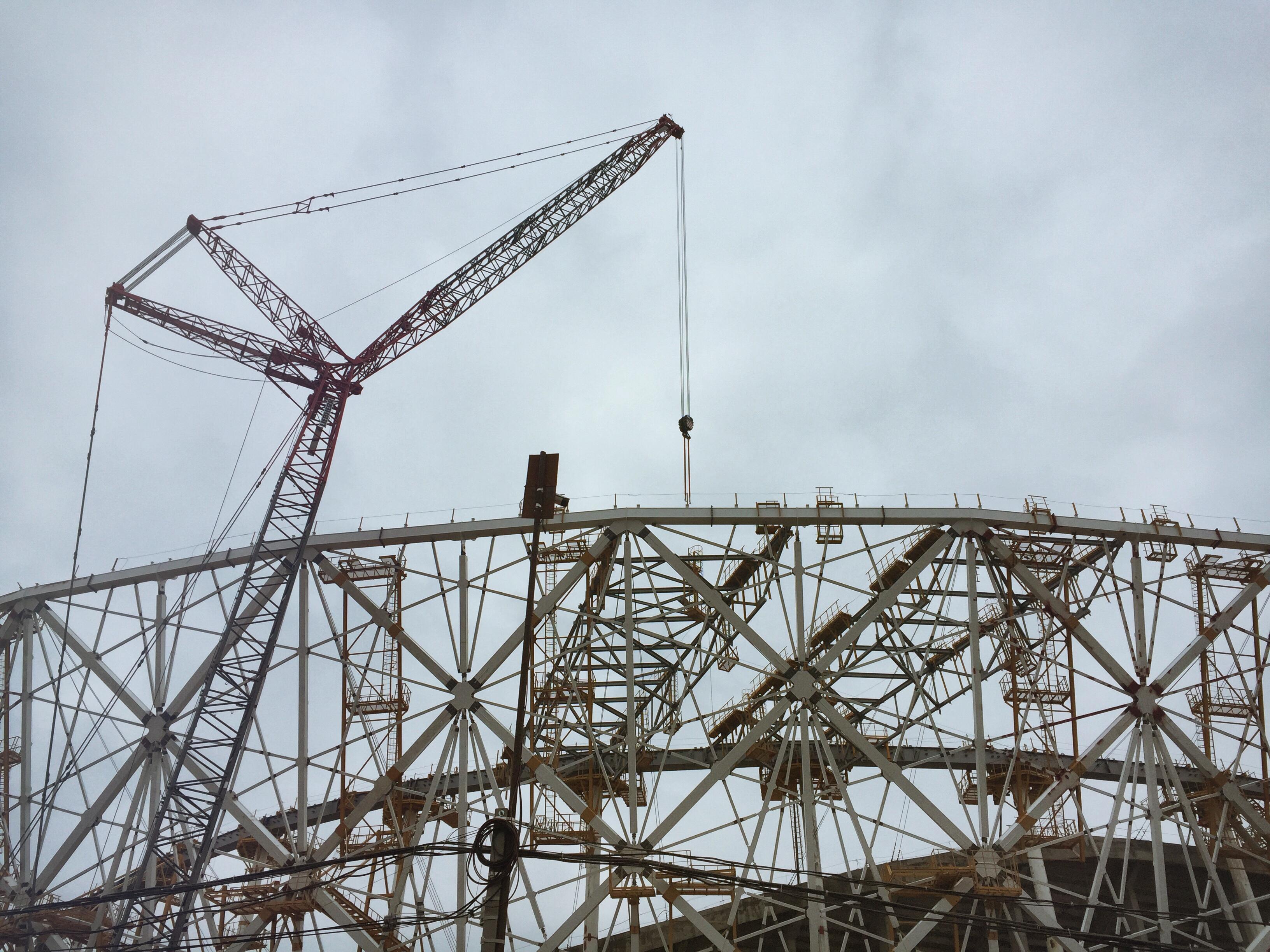 Die Struktur des Wolgograder Stadions lässt sich erahnen