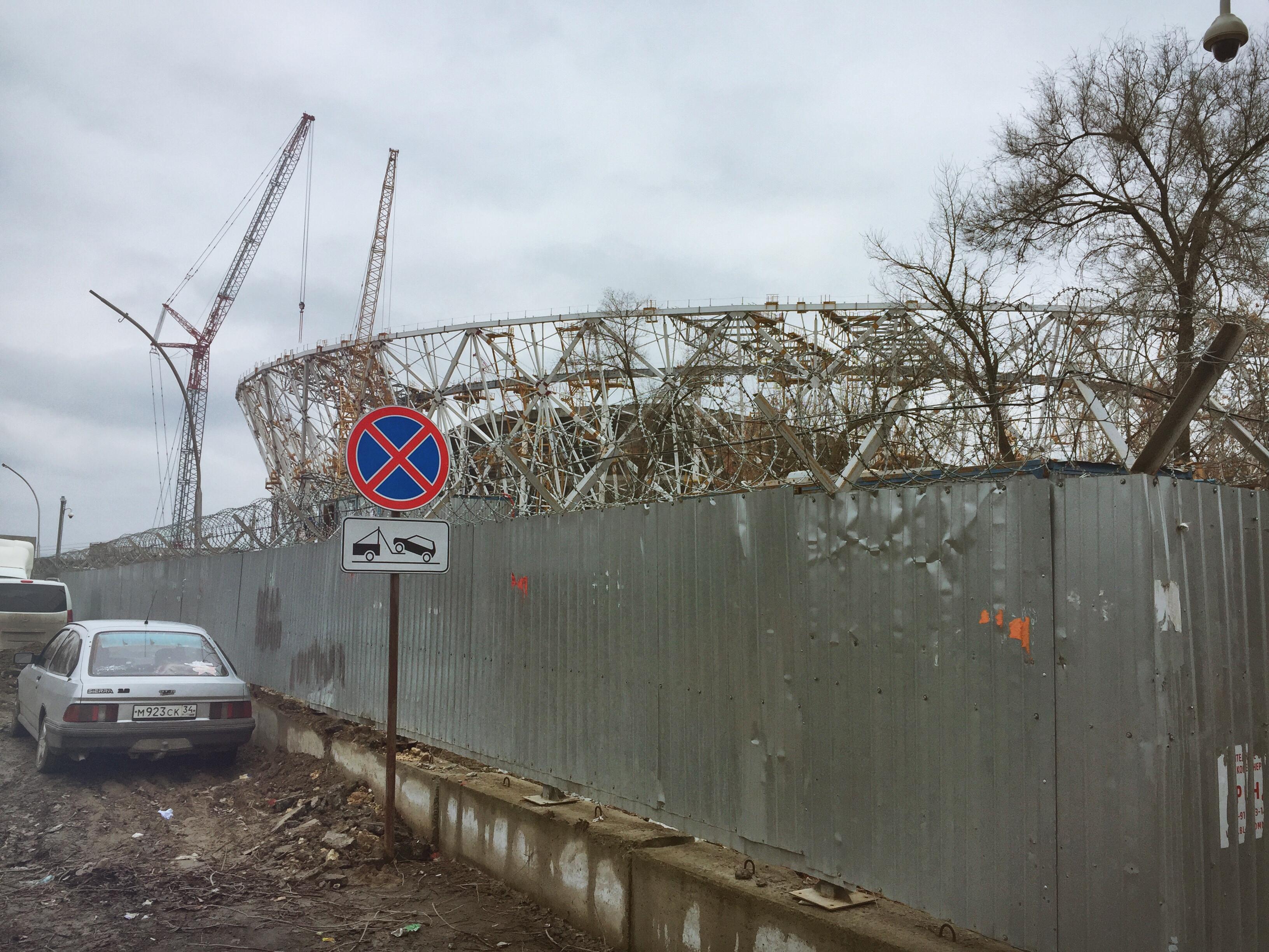 Die Stadionbaustelle in Wolgograd im vergangenen Winter