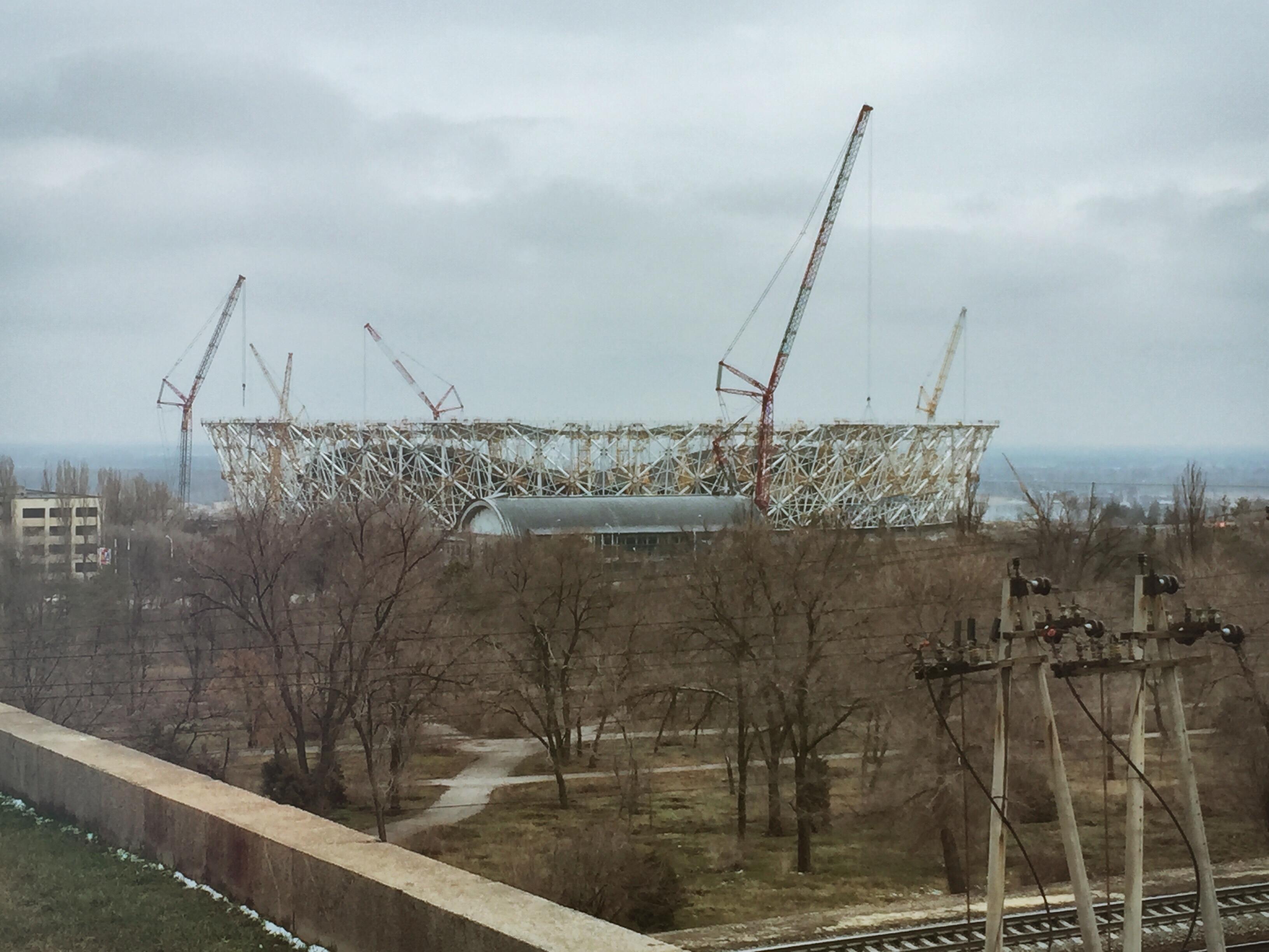 Der Blick vom Standort der Statue auf die Baustelle