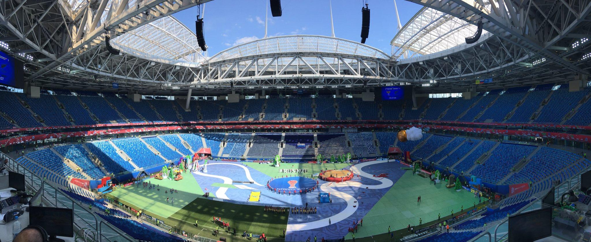 Im Stadion in St. Petersburg findet am Sonntag Abend das Confed-Cup-Finale statt. Ohne mich, auch wenn das die Organisatoren anders sehen. (Foto: Markus Sambale)
