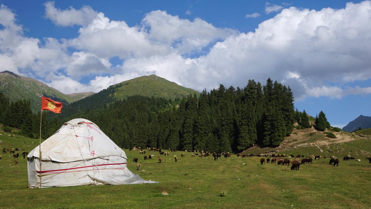 Eine Jurte mit der kirgisischen Flagge, auf der wiederum ein Teil eines Jurtendachs abgebildet ist