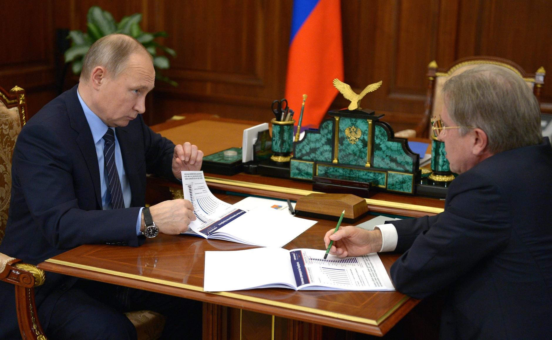 Aeroflot-Chef Saweljew im Gespräch mit Wladimir Putin (Foto: Kremlin.ru)