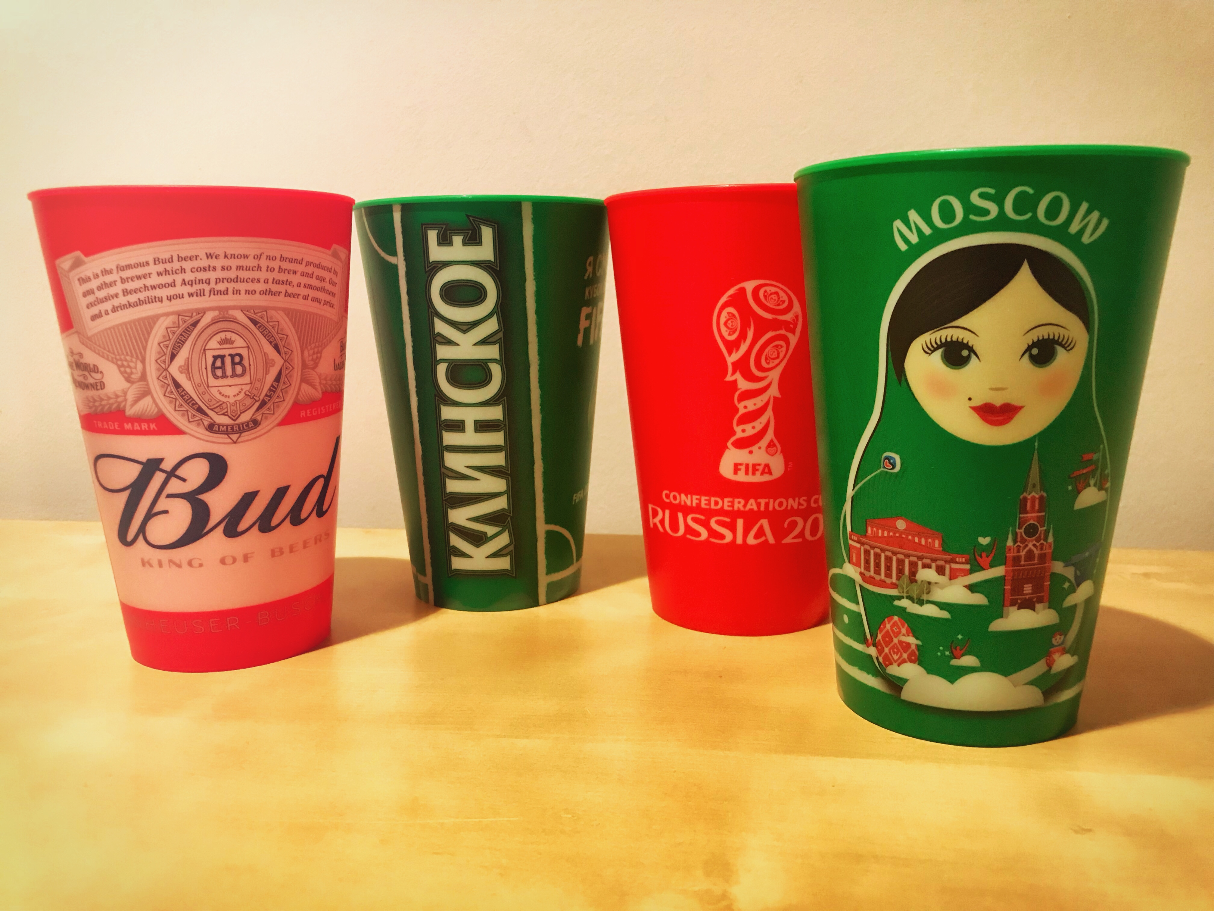Budweiser oder Klinskoje? In solchen Bechern wurde beim Confed-Cup Bier in den russischen Stadien verkauft.