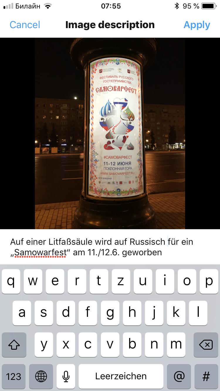 Ein Fototweet mit ausgefülltem Alt-Text