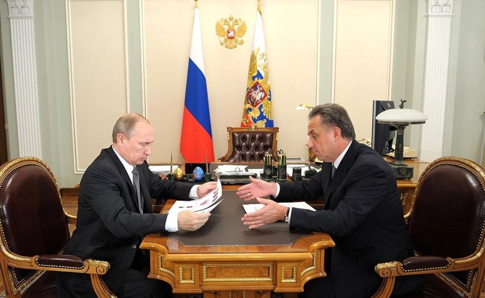 Witali Mutko bei einem Treffen mit Präsident Putin. Als dieses Bild entstand, war Mutko noch Sportminister.  (Foto: Kremlin.ru)
