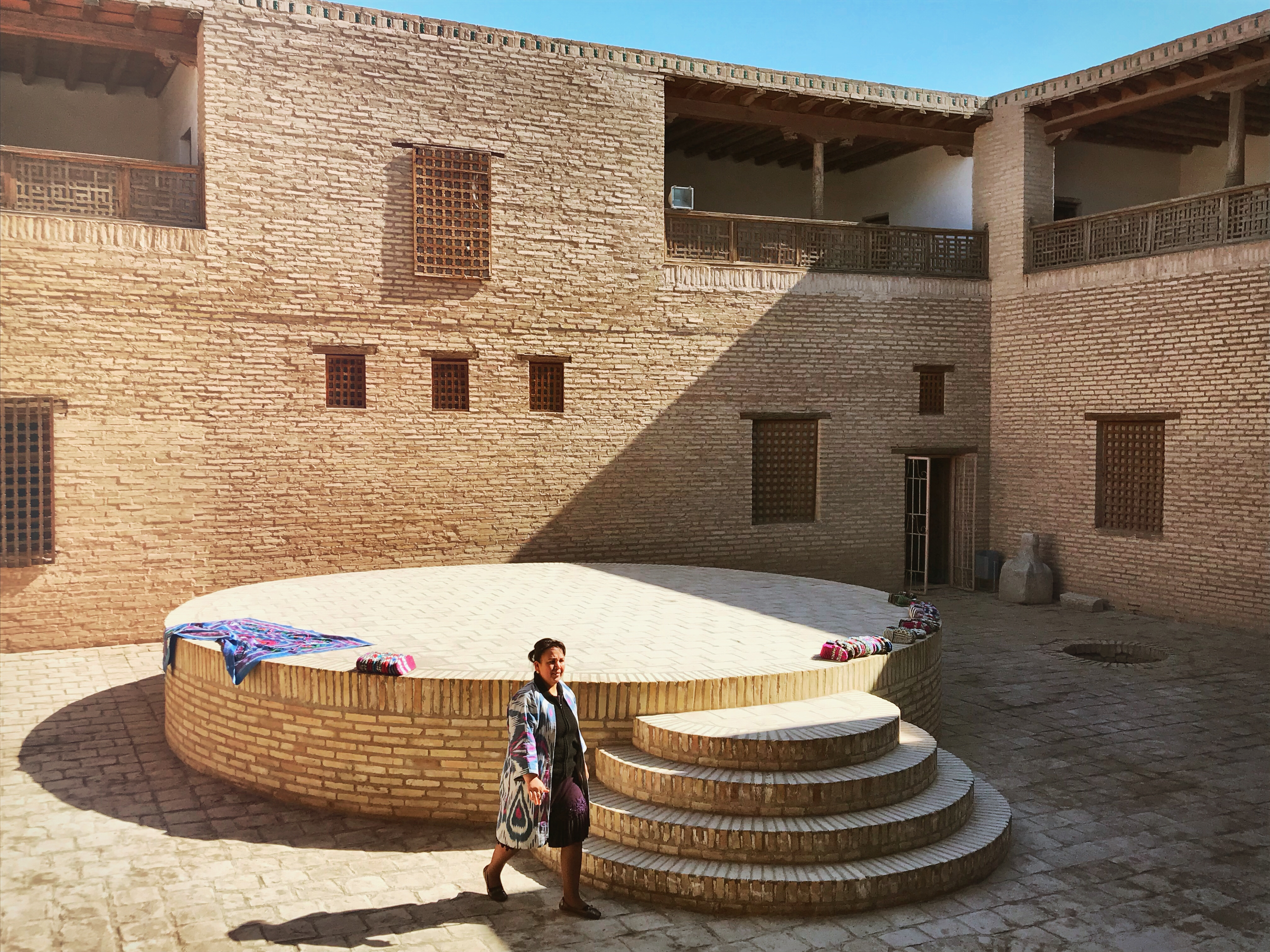 Usbekistand kscheib Palast Innenhof Zeltplatz