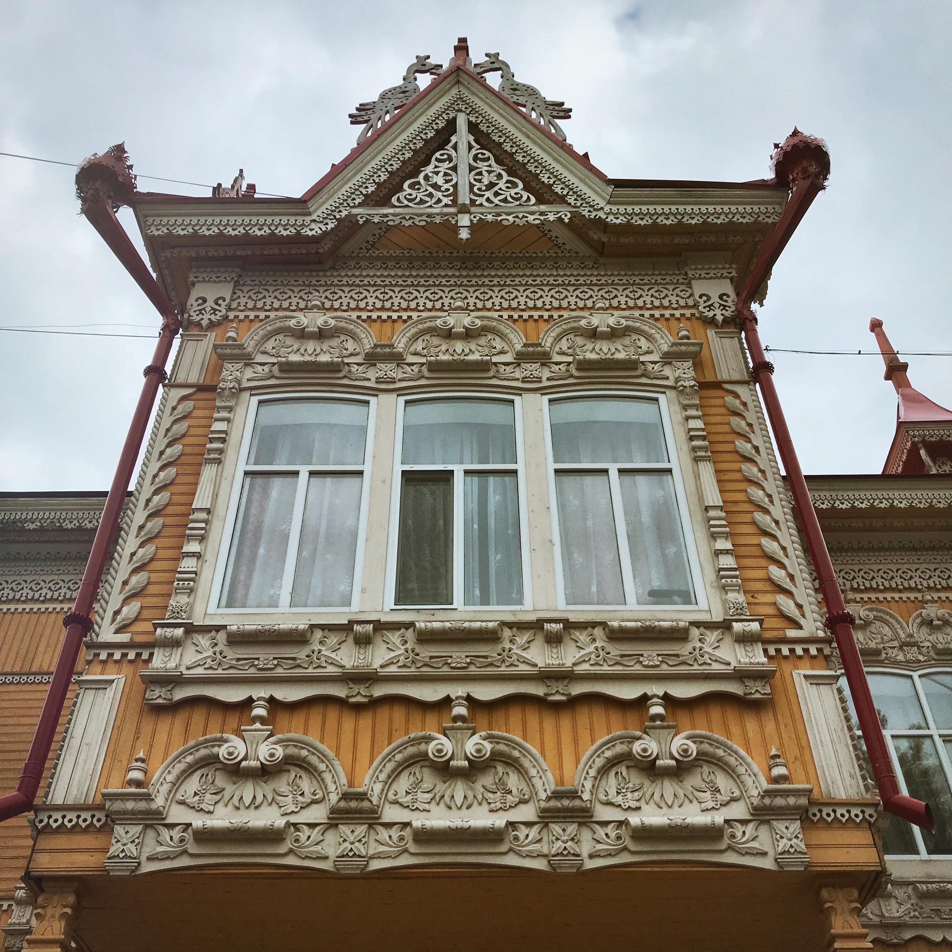 Sibirien Holzhaus Fenster Erker