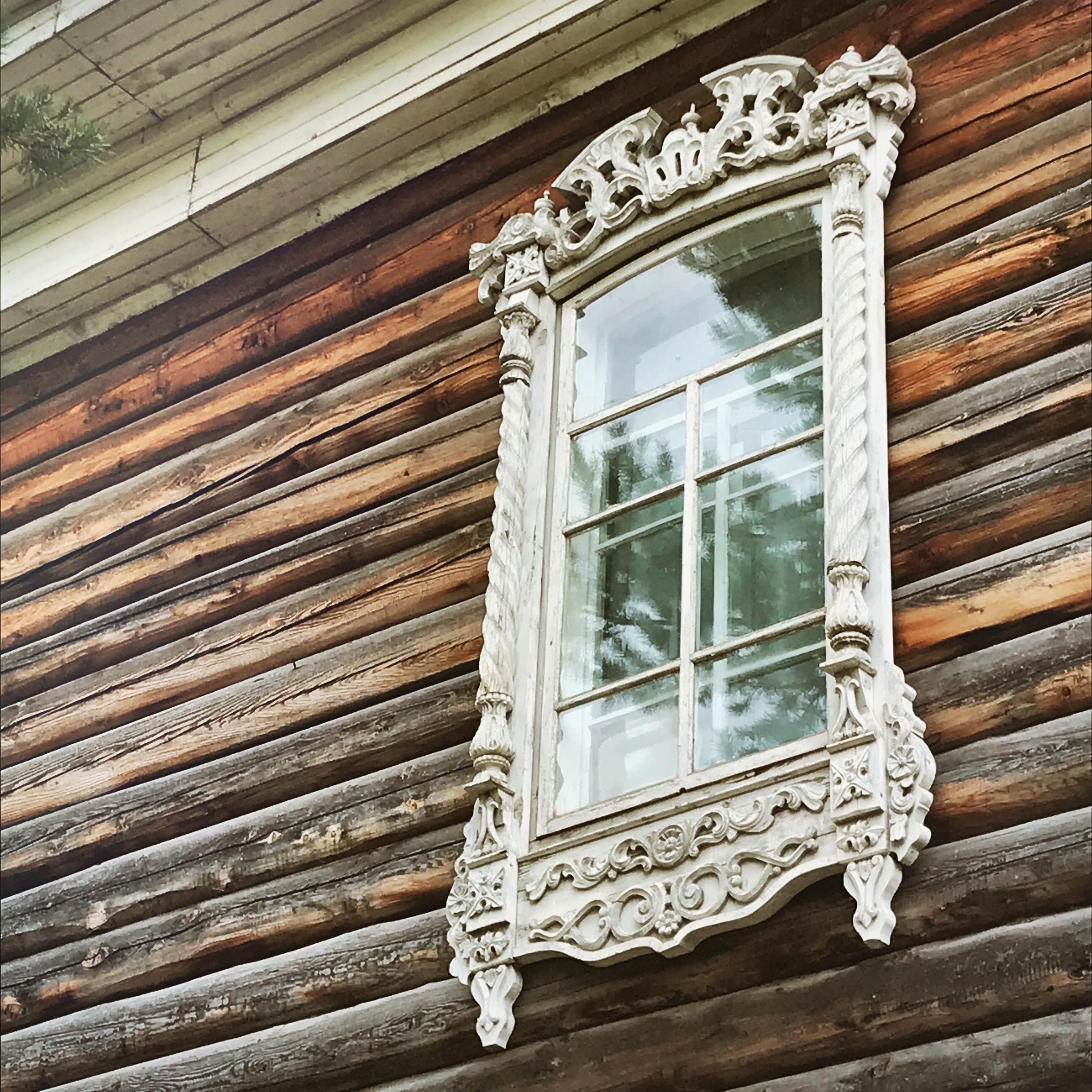 Sibirien Holzhaus Fenster Schräg