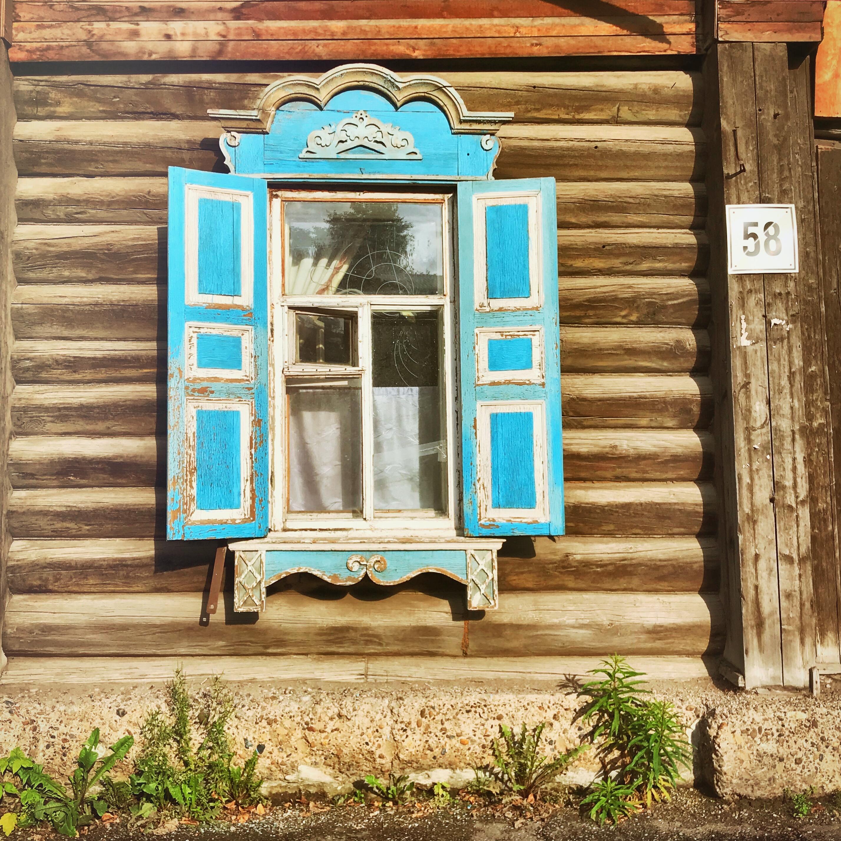 Sibirien Holzhaus Fenster Tomsk