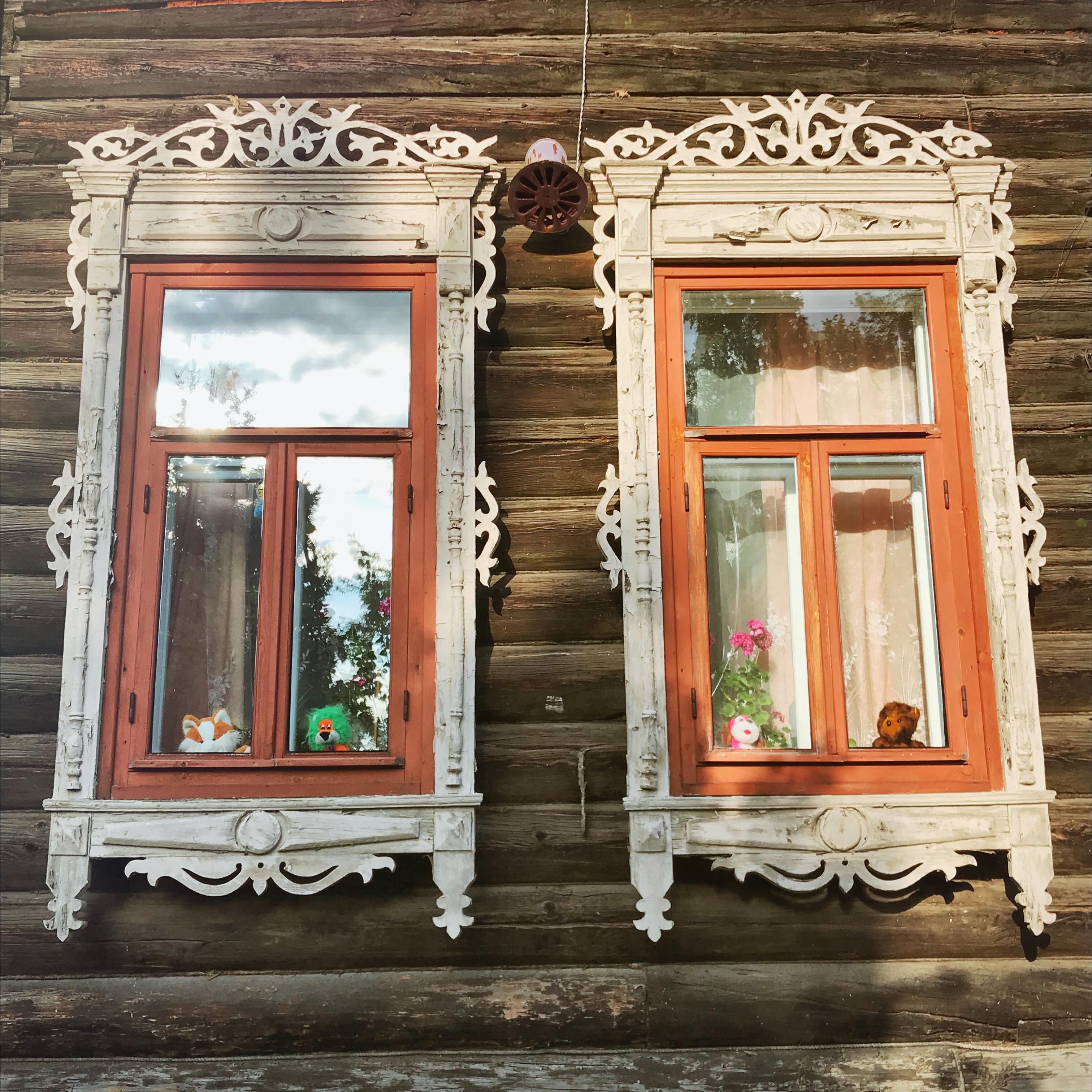 Sibirien Holzhaus Fenster zwei
