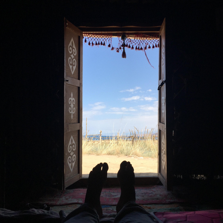 Blick aus einer Jurte in Kirgistan
